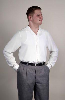 Spatenkragenhemd Mod. 1950 Langarm. Weis