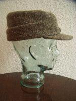 Deutsche Wintermütze Modell Alpine 1930 Tweed, Brauntöne meliert